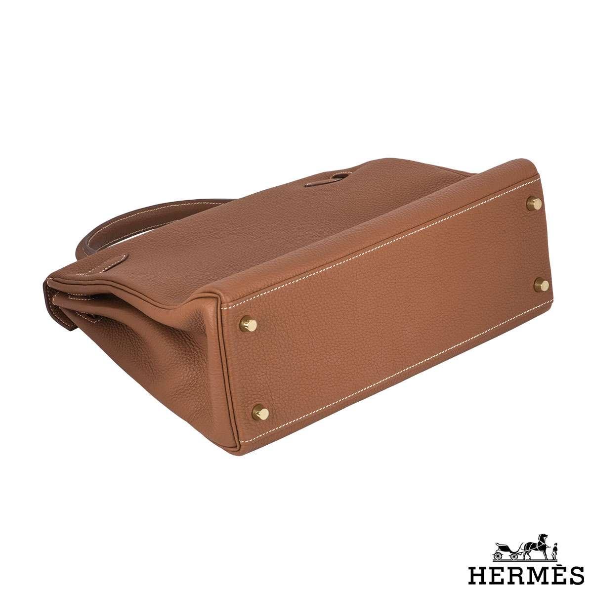 Hermès 32cm GHW Brown Kelly Bag